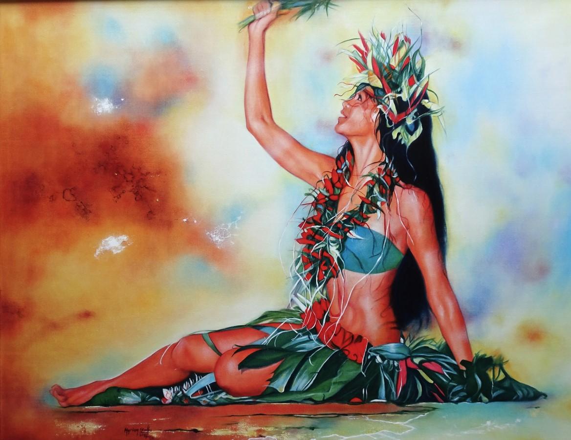 La danse polynésienne est le thème de prédilection de l'artiste.