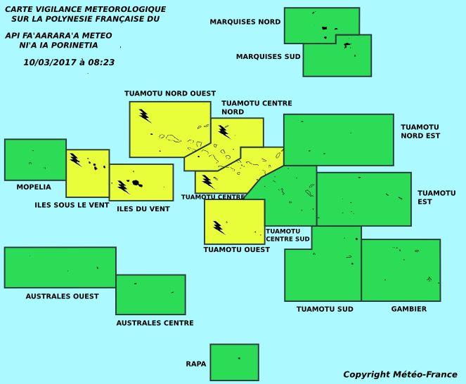 Des orages sont à prévoir sur la Société et aux Tuamotu