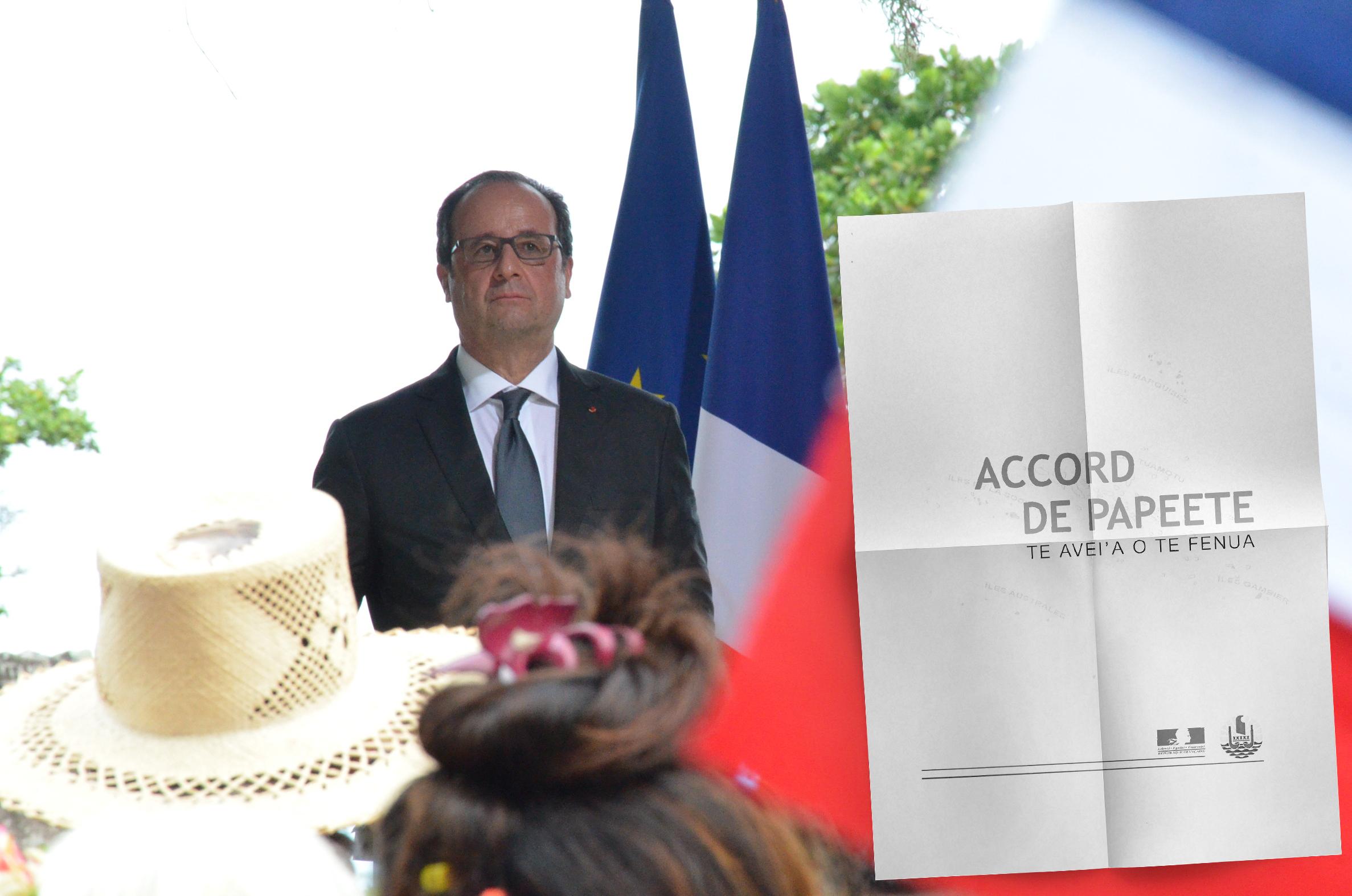 François Hollande durant sa visite officielle en Polynésie française, en février 2016. C'est lors de ce séjour que le président de la République avait évoqué le principe d'un accord de Papeete, pour le développement de la Polynésie française dans la République.