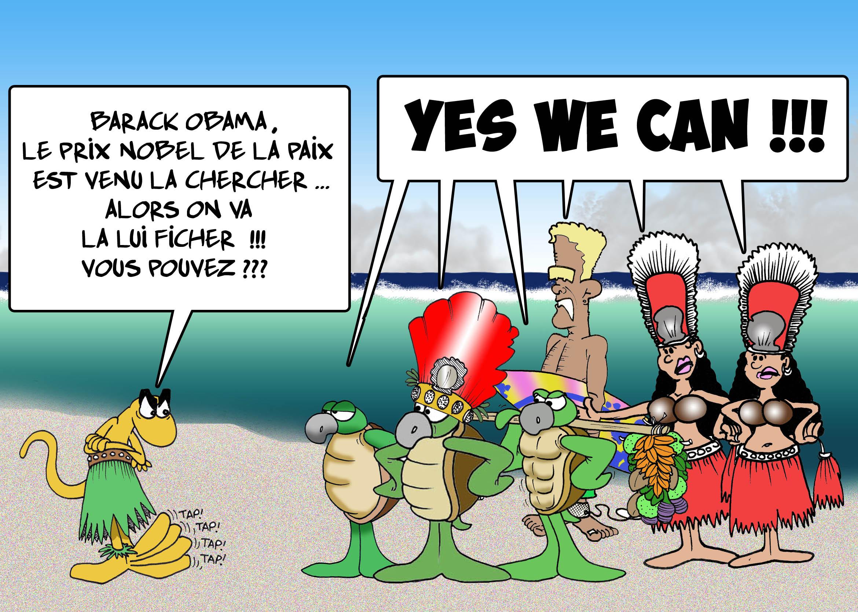 """"""" Obama en vacances au fenua """" vu par Munoz"""