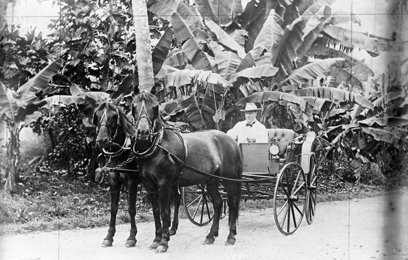 Le gouverneur allemand en balade à cheval, allant inspecter à l'improviste quelques plantations. Il se souciait de leur rendement autant que du bien-être de ceux qui y travaillaient.