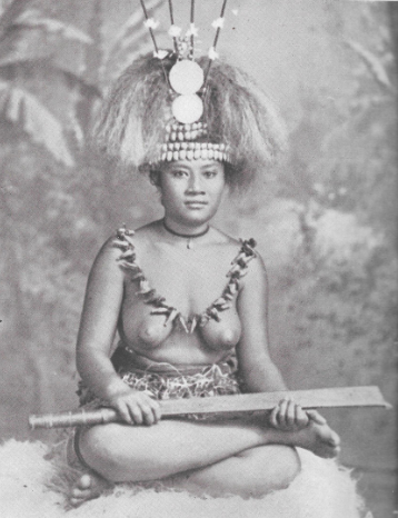 Belle jeune femme samoane de haut rang.