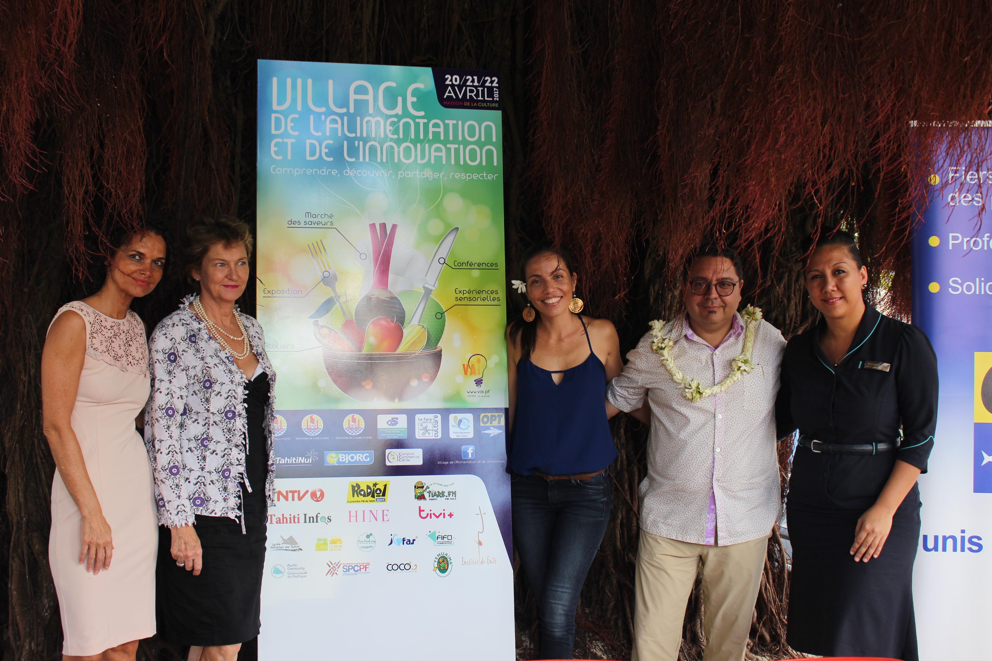 Organisé par Manihi Lefoc d'ASAE Conseil, de nombreux partenaires se joint au projet de village de l'alimentation et de l'innovation. Ce village a une marraine : Bénédicte Sauvage chez pâtissière au Coco's et un parrain : Heiarii Hoiore, 1er chef gastronomique polynésien.