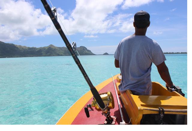 Henri de retour à la marina avec ses prises du matin, deux jeunes thons à nageoires jaunes (Crédit: Jérôme Petit)