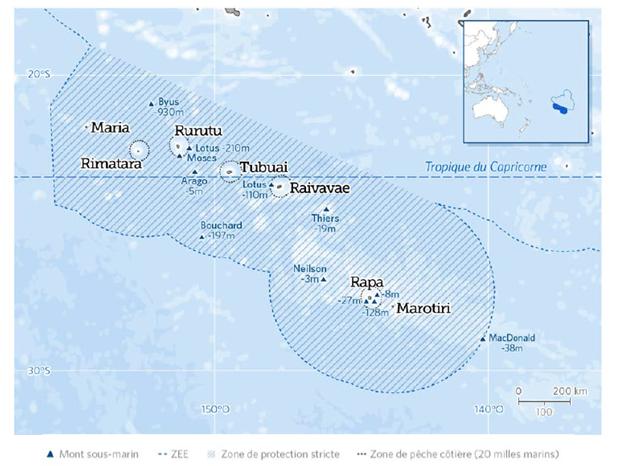 Zonage de la réserve marine proposé par la population des Australes, qui comprend 5 zones de pêche côtière jusqu'à 20 nautiques des îles et une grande zone de protection de 1 million de km² (Source : Pew Polynésie)