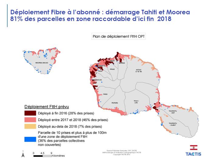 Tahiti et Moorea seront largement fibré d'ici fin 2018, et le reste des îles de la Société d'ici 2020