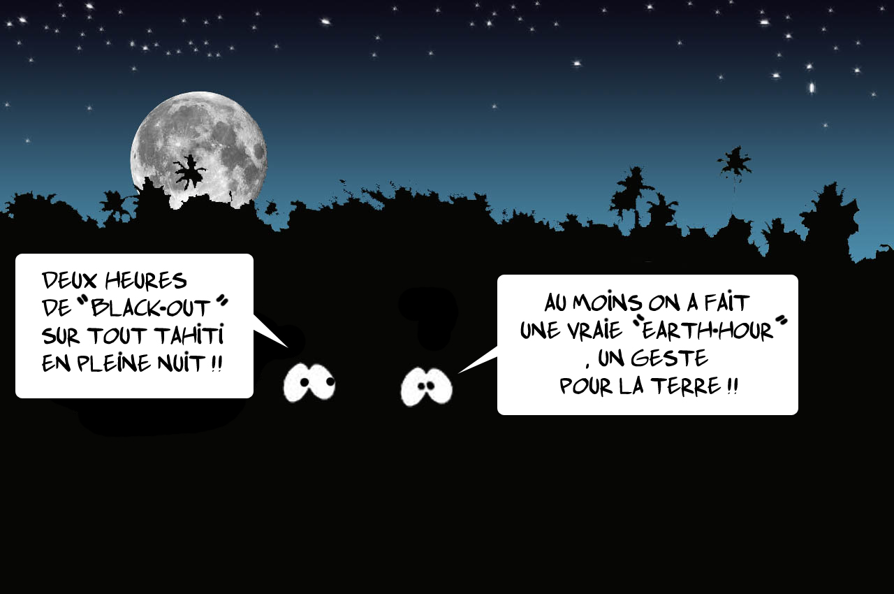 """"""" Le Black-out sur Tahiti """" vu par Munoz"""