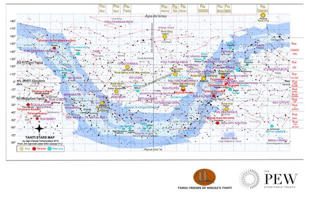 Carte des étoiles tahitiennes, réalisée par le Président de Faafaite Jean Claude Teriierooiterai (Crédit : Tainui Friends of Hokule'a en partenariat avec Pew Polynésie)
