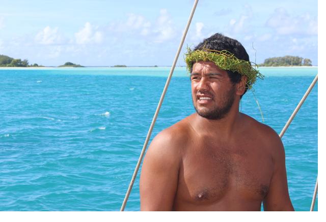 Titaua Teipoarii, capitaine de la pirogue Faafaite originaire de Raivavae (Crédit : Jérôme Petit)