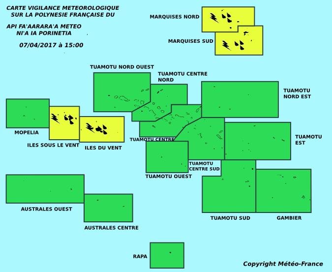 Pluies et orages : la Société et les Marquises en vigilance jaune