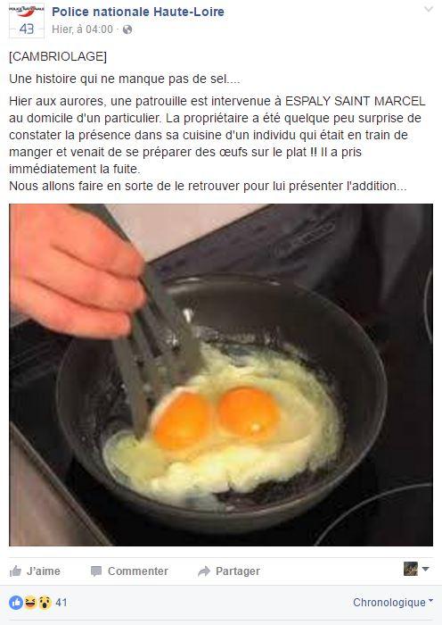 ll surprend son cambrioleur... devant des œufs au plat