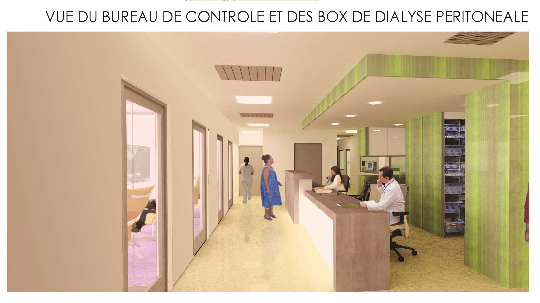 Esquisse du projet présenté en 2015 pour l'aménagement de la rotonde du CHPF pour les patients souffrant d'insuffisance respiratoire et rénale.