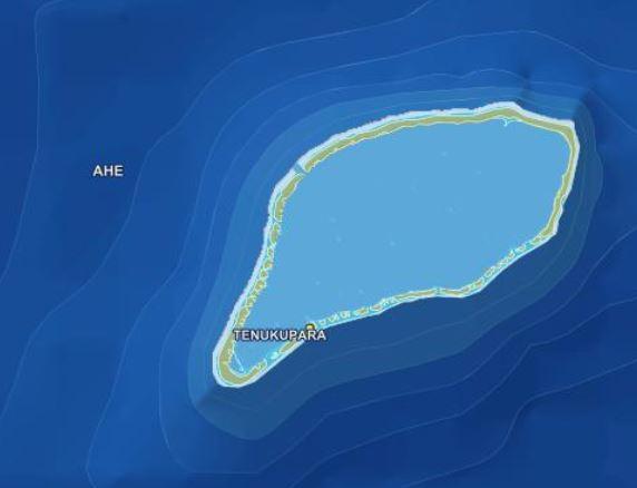 Ahe, dans l'Ouest des Tuamotu (Carte www.tefenua.gov.pf)