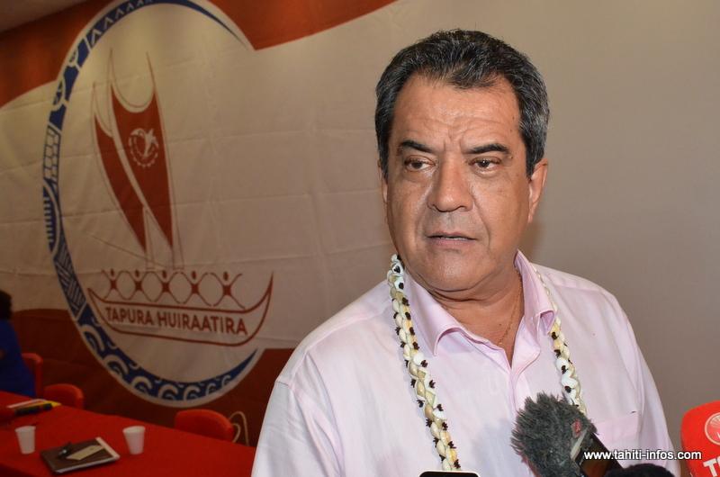 Edouard Fritch, lundi soir en marge du conseil politique du Tapura Huiraatira.