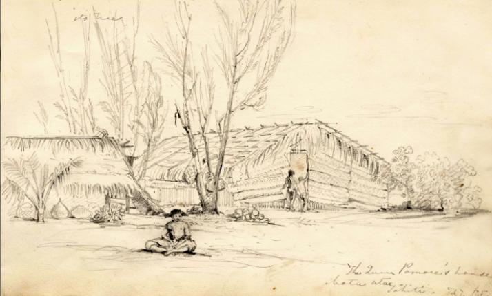 Maisons sur Motu Uta, Tahiti. Dessin réalisé le 7 février 1835, tiré du carnet de dessins de Conrad Martens réalisés lors du voyage du Beagle dans les îles du Pacifique Sud. Coll. Cambridge University Library