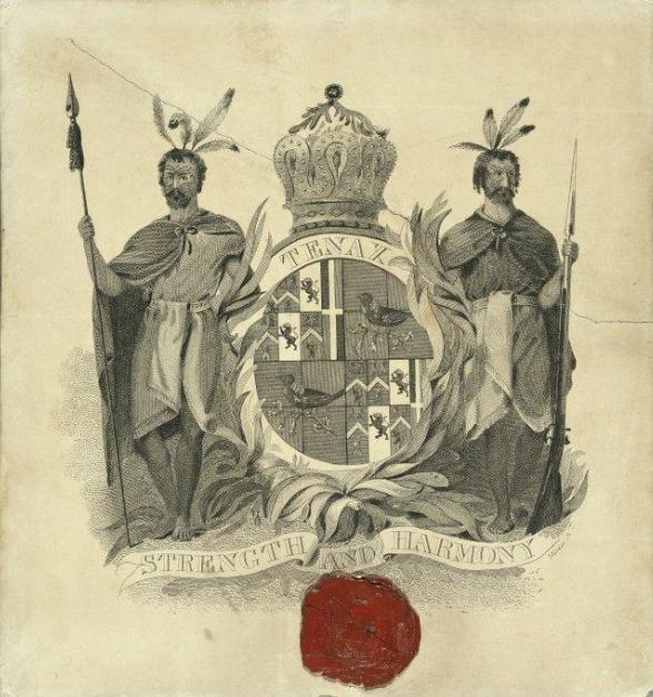 Les armoiries du « roi » français de la Nouvelle-Zélande, qui ne fut jamais vraiment pris au sérieux.