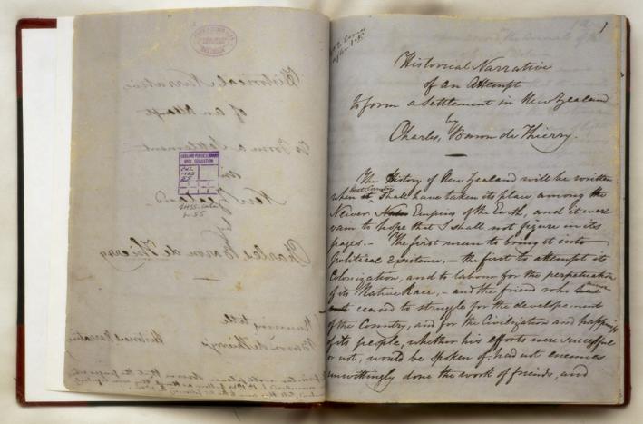 Un extrait du manuscrit du baron de Thierry, dans lequel il se met en scène comme le véritable colonisateur de la Nouvelle-Zélande.