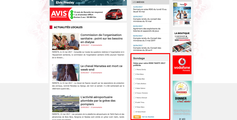 Page d'accueil Tahiti Infos