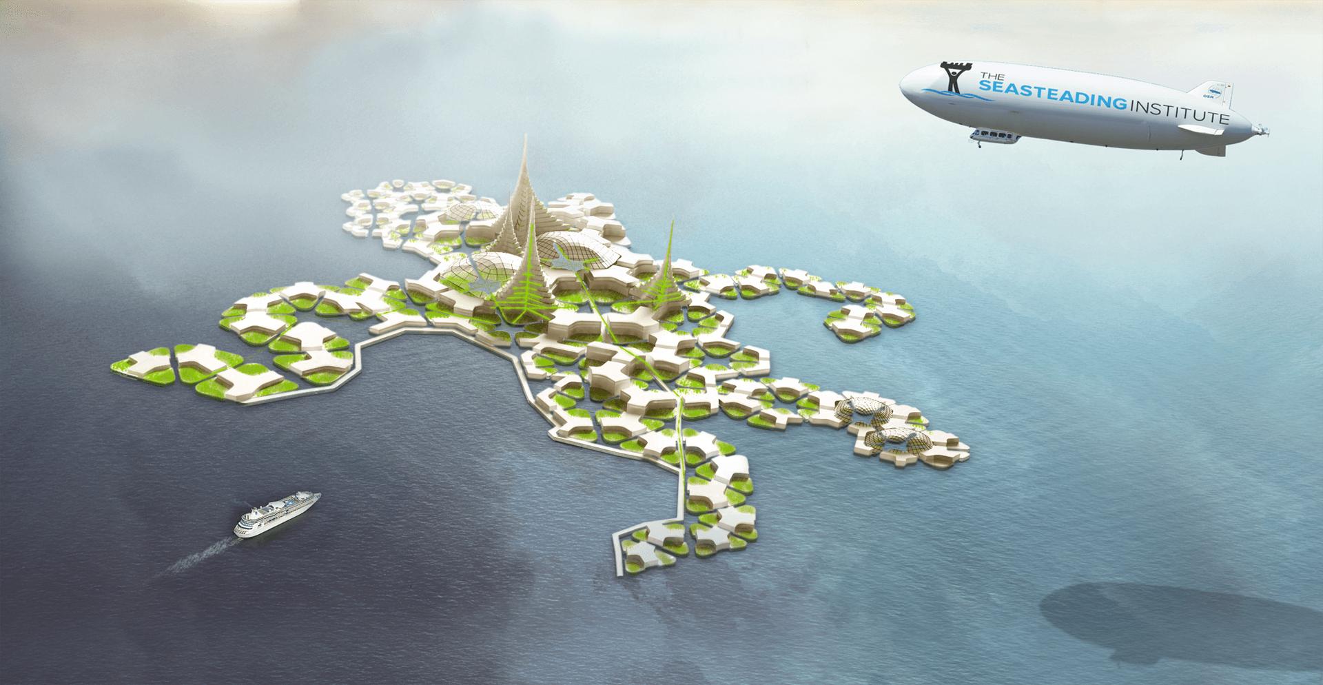 Vision d'artiste d'une île flottante