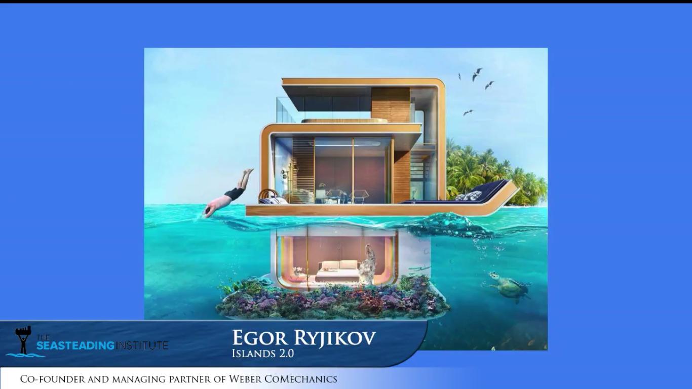 Vu d'artiste d'un module d'habitation d'une île flottante plus large, dont elle pourrait se détacher