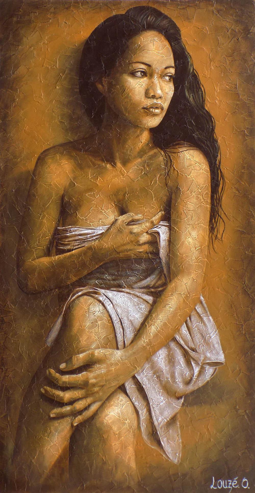 Parmi ses sujets de prédilection, la vahine polynésienne est au cœur de son œuvre.