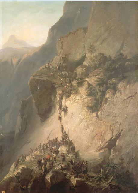La prise du fort de la Fautaua à Tahiti le 17 décembre 1846. Une peinture due à Charles Giraud (1819-1892).Musée national du Château de Versailles.