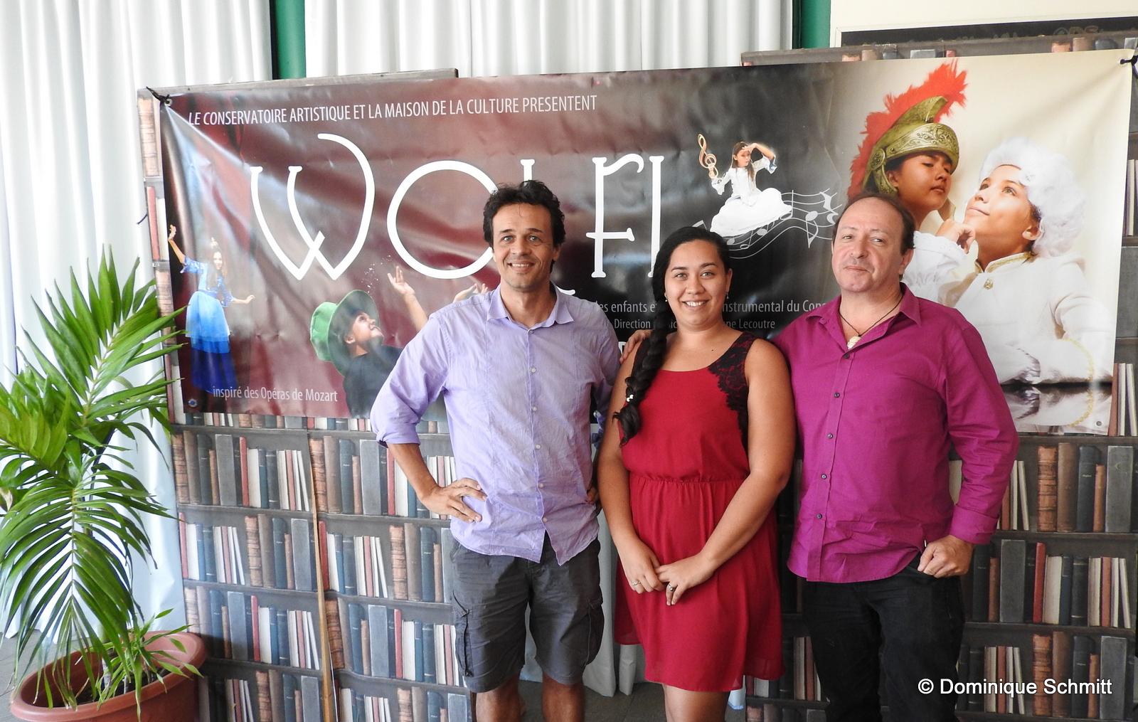 Stéphane Lecoutre, le directeur musical, Vanessa Cuneo, de la Maison de la culture, et Frédéric Cibard, chargé de communication au Conservatoire.
