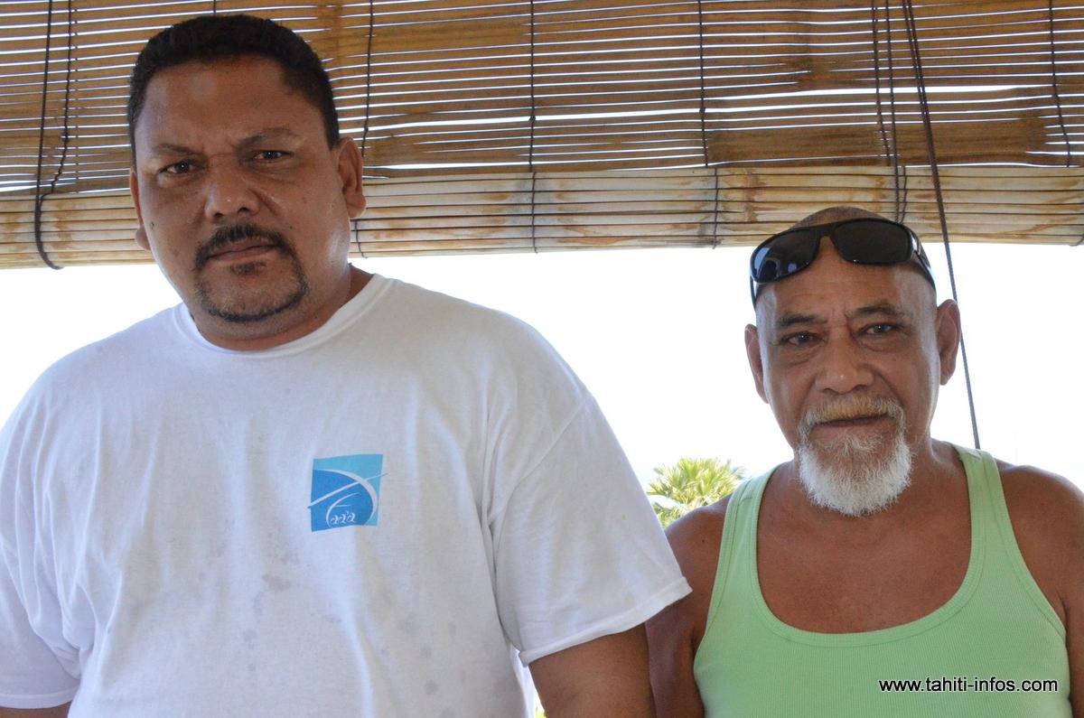 Vatea Heller et Isidore Teinaore, respectivement vice-président et président de la Confédération syndicale des agents communaux de Polynésie (Cosac). (Photo d'archives)