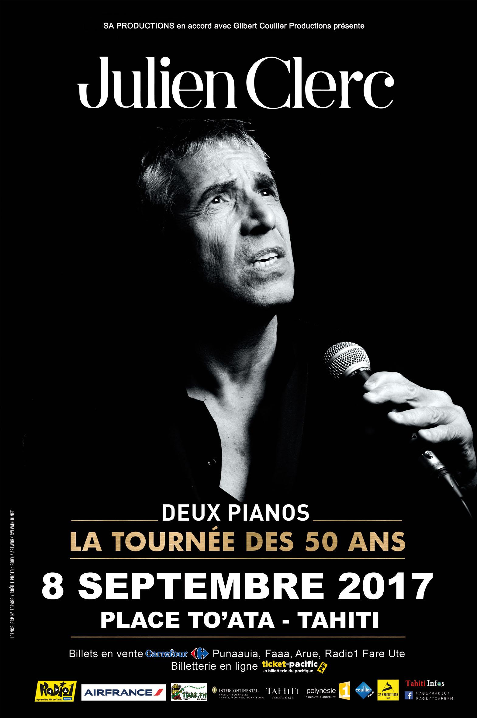 """Concert de Julien Clerc : """"La tournée des 50 ans"""" passera par Tahiti le 8 septembre"""