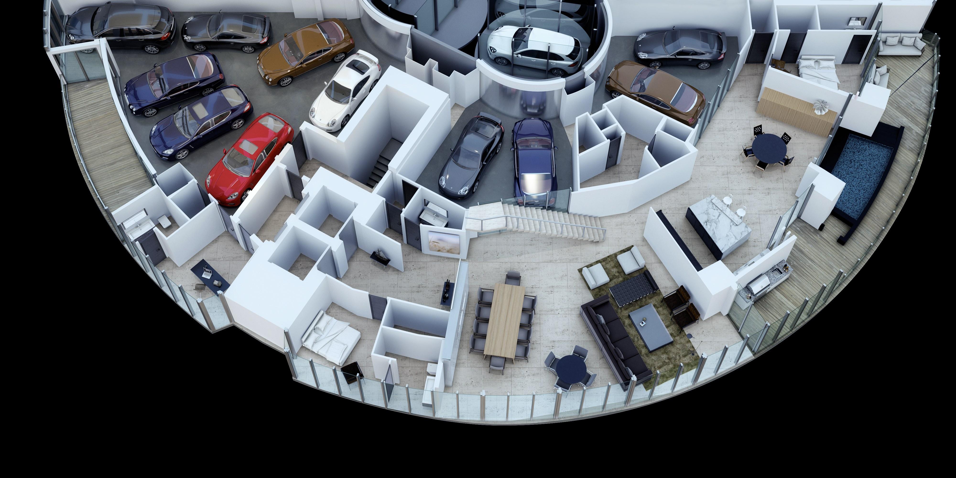 a miami les riches peuvent garer leur voiture dans le salon. Black Bedroom Furniture Sets. Home Design Ideas