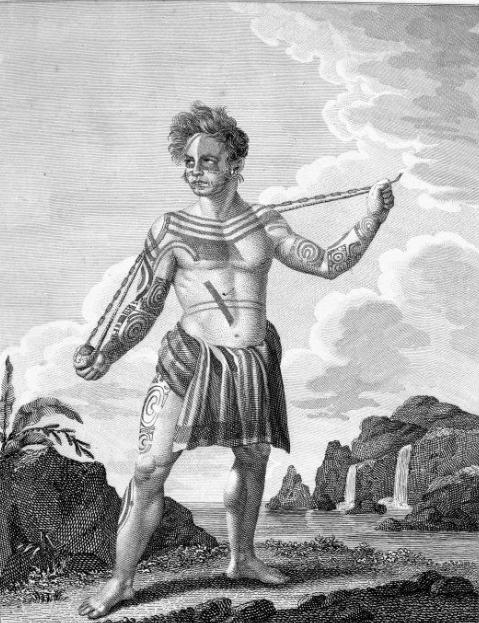 Le seul portrait, sans doute assez peu fidèle, de Kabris aux Marquises, avec ses tatouages de guerrier et de chef.