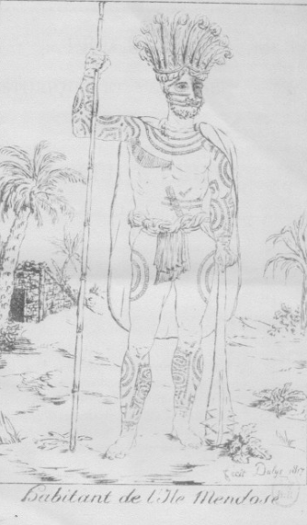 Dans le petit livre d'une quinzaine de pages qu'avait rédigé Kabris, il s'était lui-même représenté comme un « habitant de l'île Mendoça », nom donné aux Marquises en référence au commanditaire de l'expédition qui permit de les découvrir en 1595, le marquis Hurtado de Mendoza, vice-roi du Pérou.