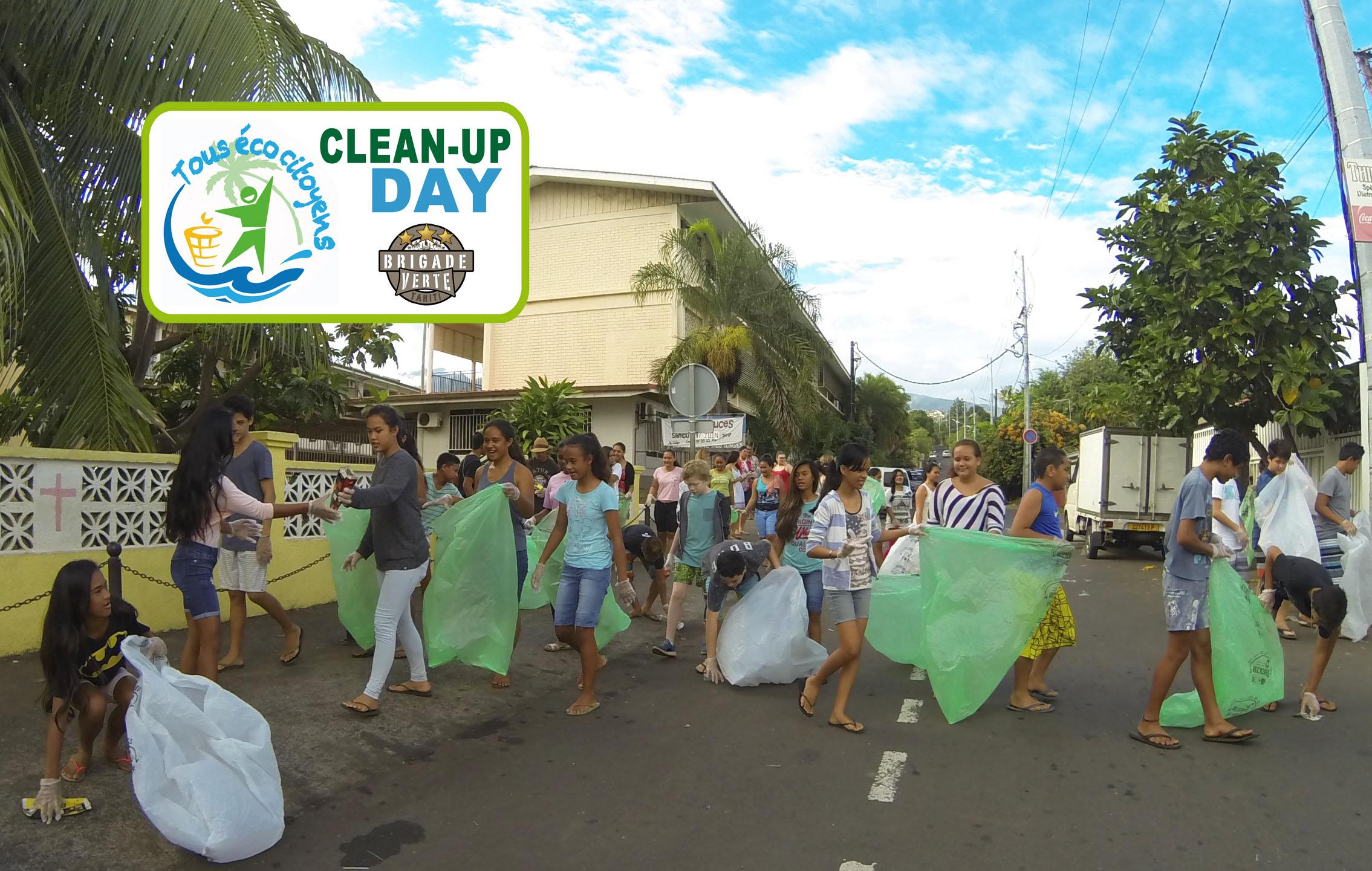 """Opération """"Clean Up Day"""" sur la commune de Faa'a pour sensibiliser la population à la problématique des déchets."""