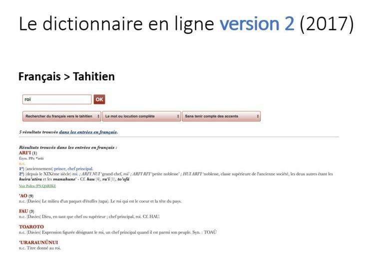 Vous pouvez désormais faire des recherches du français vers le tahitien.