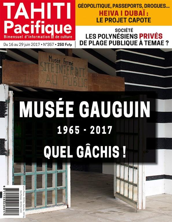 À la Une de Tahiti Pacifique, vendredi, la fermeture du musée Gauguin