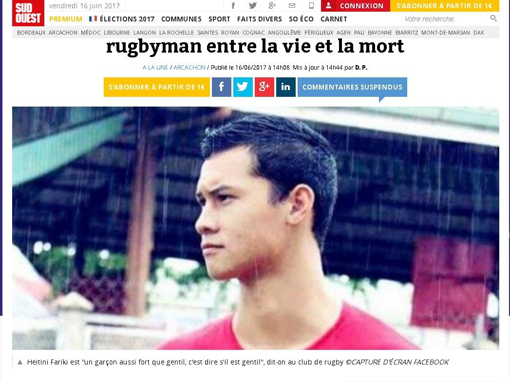 Victime d'une chute en skate, un Tahitien entre la vie et la mort en métropole