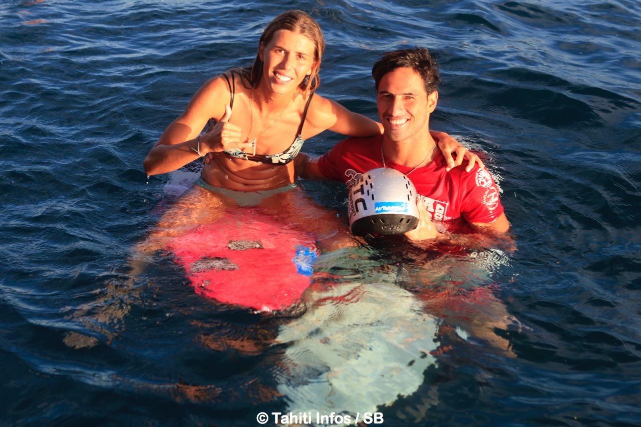 Taumata Puhetini et Leina Thion partagent la même passion pour le surf