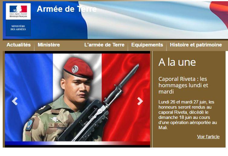 Le site Internet de l'armée de Terre.