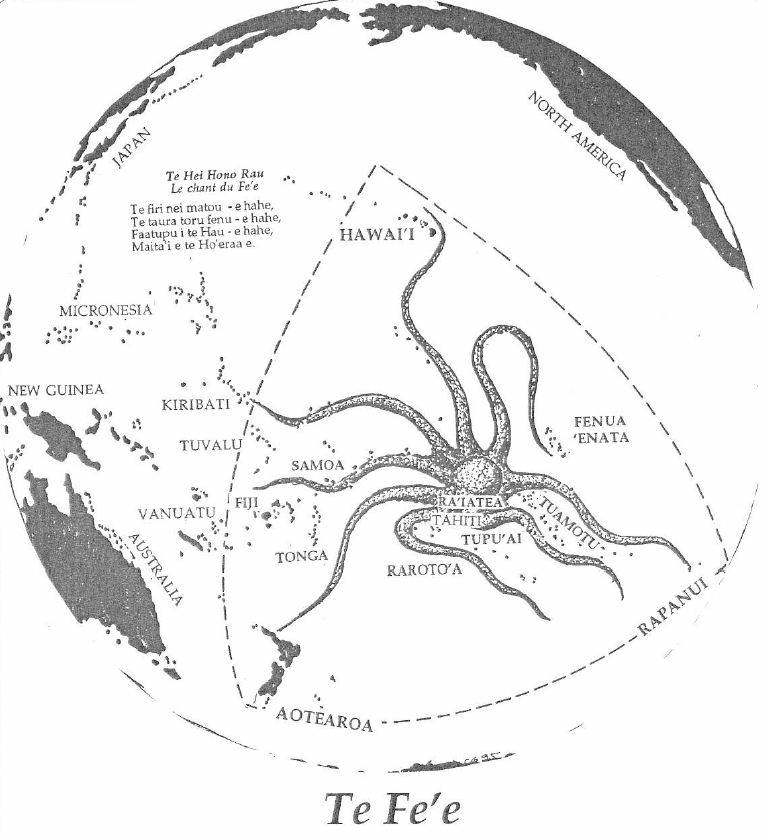 "La grande pieuvre mythique du temps primordial (""Te fe'e nui tahi tumu o te tau vana'ana'a"")."