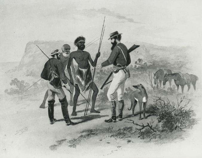 John Horrocks en pourparlers avec des Aborigènes, à proximité du lac Torrens.