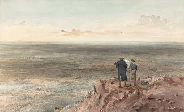 Horrocks découvrant le panorama depuis une hauteur au-dessus de Depot Creek où il avait établi son campement.