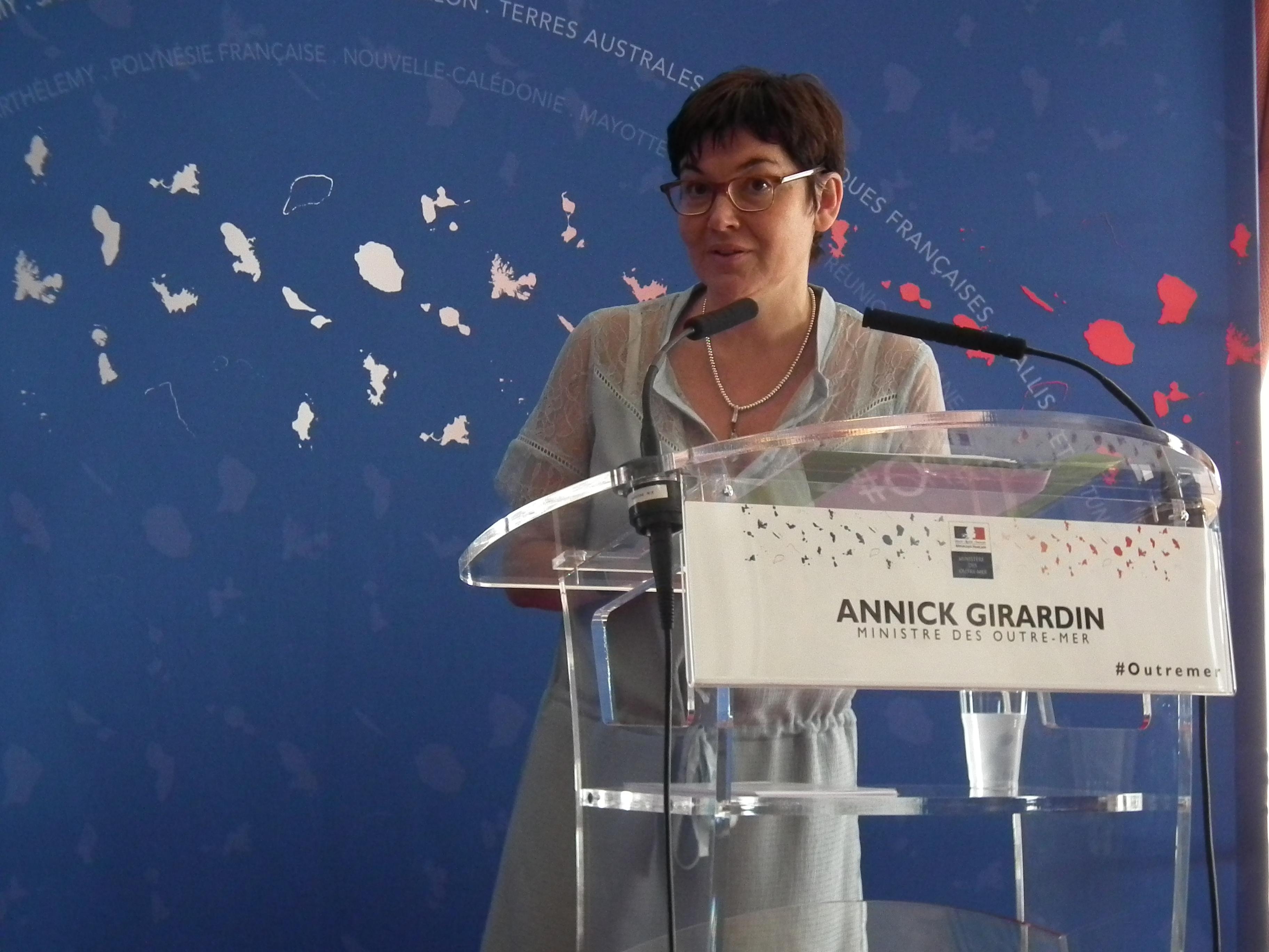 Annick Girardin, ministre des outre-mer, vendredi au ministère de la rue Oudinot.