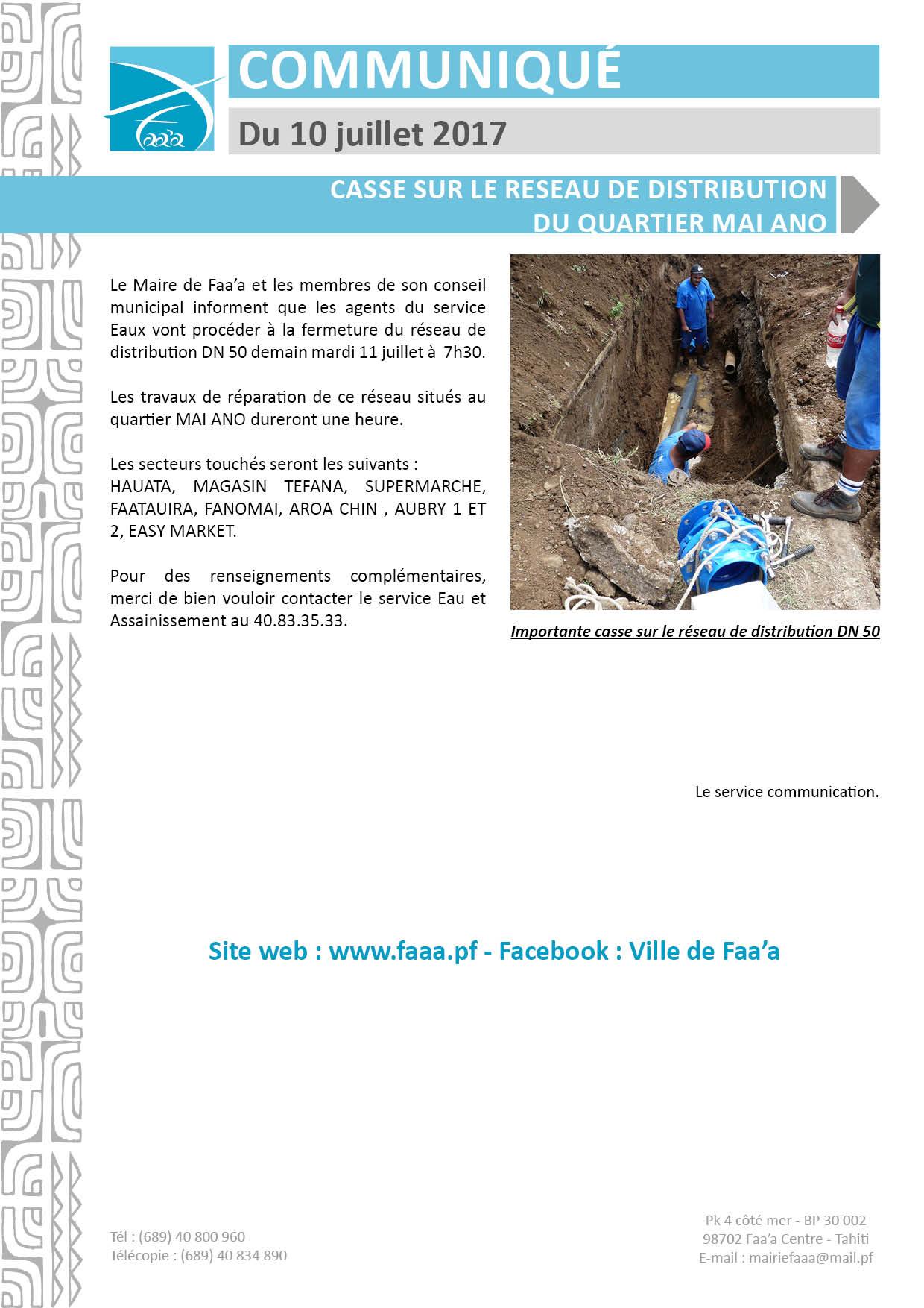 Faa'a : coupure d'eau au quartier Mai Ano, le 11 juillet