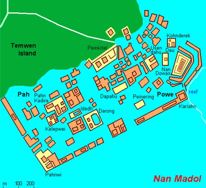 Un plan de Nan Madol, avec ses différents îlots, ses quartiers et ses voies navigables. Longueur : 1,5 km.