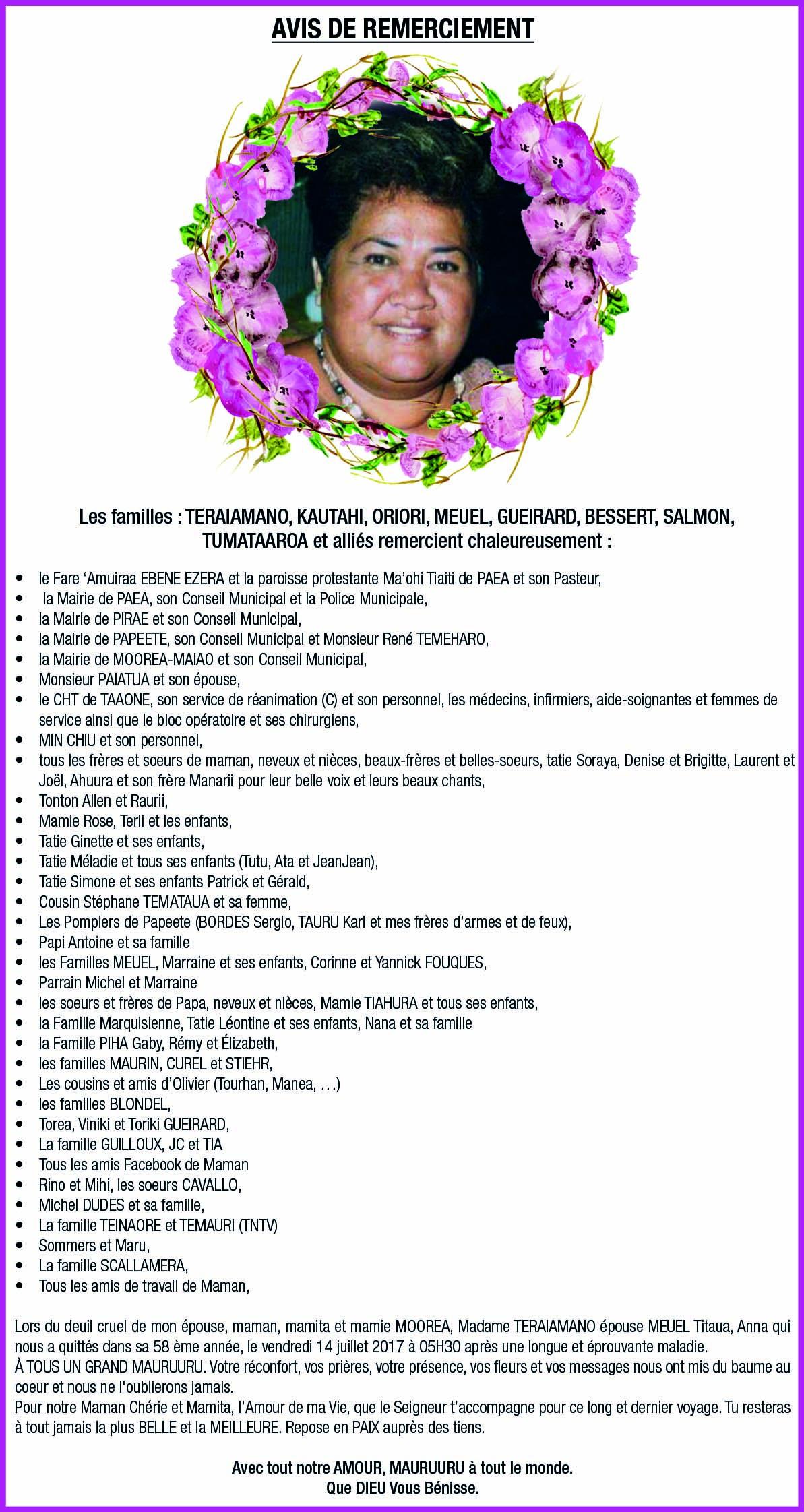 Avis de remerciements Famille TERAIAMANO-MEUEL