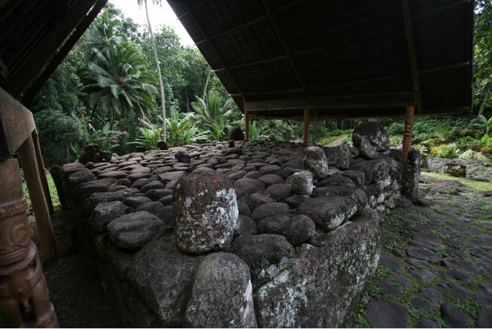 Les petits tiki et têtes de tiki sont eux aussi protégés ; à droite, la plus grosse pièce pourrait être la tête, dit-on, du tiki se trouvant aux côtés de Takaii, celle de Maiauto, décapité pour avoir désobéi à des ordres
