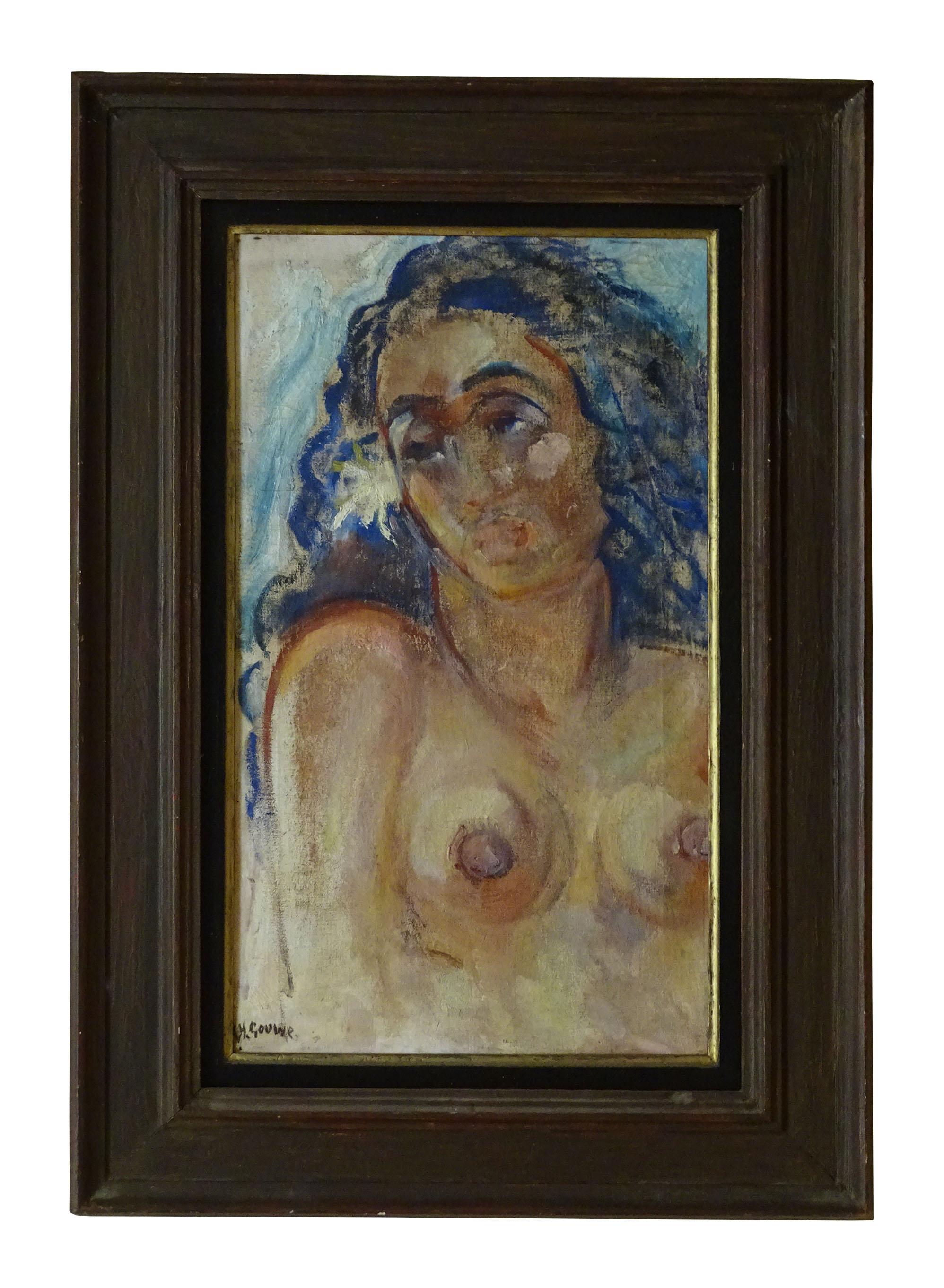 """Vous trouverez de nombreuses peintures, à l'image de cette """"Vahine aux seins nus"""" de Gouwe."""