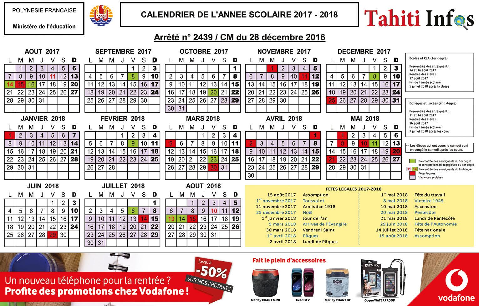 Votre calendrier scolaire 2017/2018 à télécharger