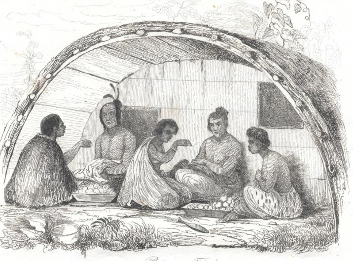 Une case maorie ; dès son installation, Marmon adopta toutes les coutumes locales, soucieux de ne pas retomber dans les mains des Anglais.