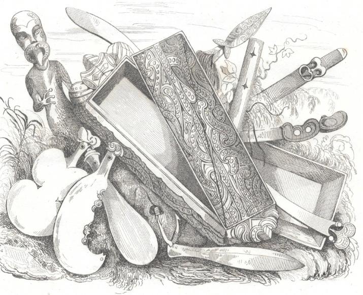 Quelques armes maories dont le pouvoir fut renforcé par celles qu'introduisit Marmon grâce aux échanges avec les navires en escale.